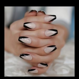 Medium length black French press on nails